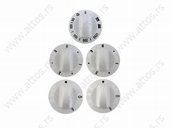 Dugme šporeta set 3 struja + 2 plin (bijela)